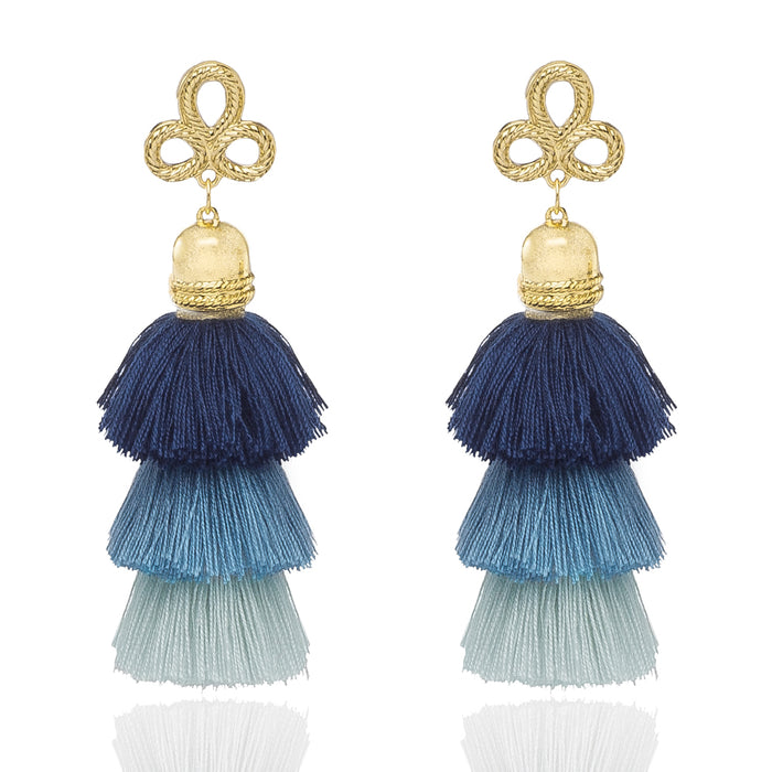 Alora Earrings - Yellow Gold / Blue