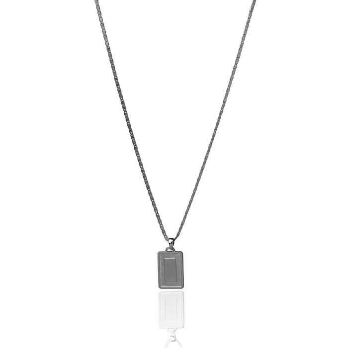 The Asscher ID Necklace - Matte Black