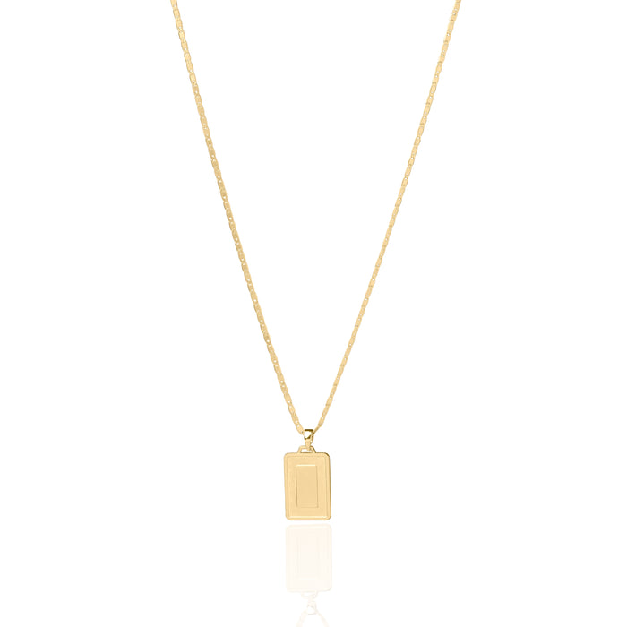 The Asscher ID Necklace - Matte Gold