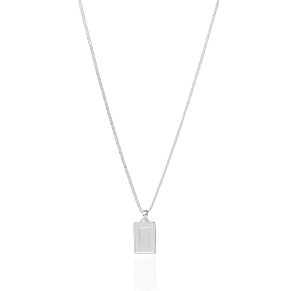 The Asscher ID Necklace - Matte Silver