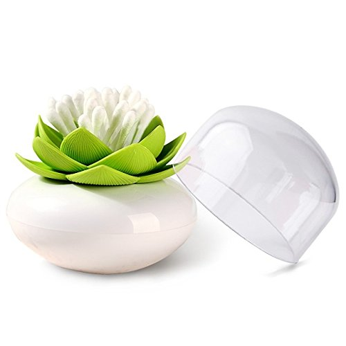MelonBoat Lotus Cotton Swab Holder, Small Q-tips Toothpicks Storage Organizer, Green