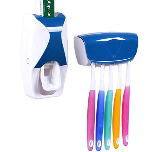 MelonBoat Automatic Toothpaste Dispenser with Toothbrush Holder Set, Kids Hands Free Squeezer, Blue
