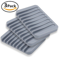 MelonBoat 3 Pack Silicone Shower Soap Dish Set, Soap Saver Holder, Rectangle Concave Grey