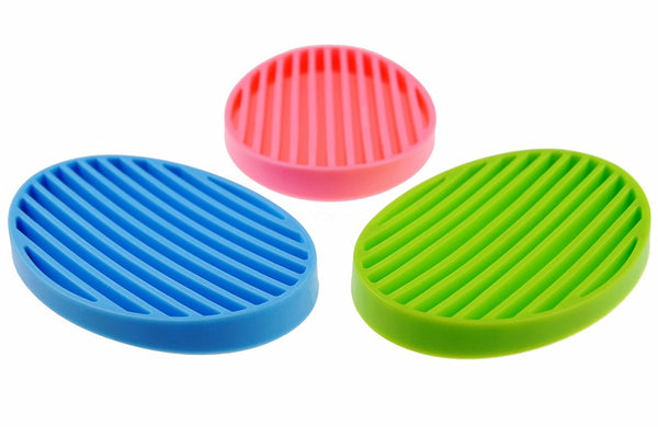MelonBoat 3 Pack Silicone Shower Soap Dish Set, Soap Saver Holder, Oval 3 Colors