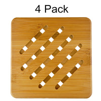 "MelonBoat 4 Pack Bamboo Trivet Mat Set, Heavy Duty Hot Pot Holder Pads, 7"" Square"