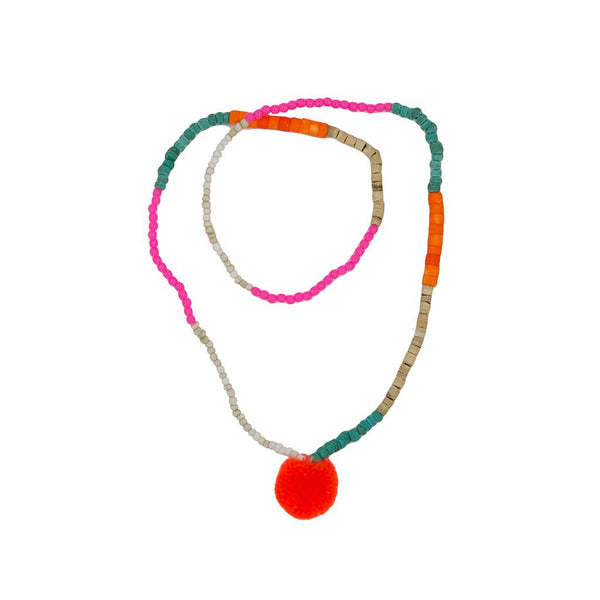 Bead Pom Pom Necklace