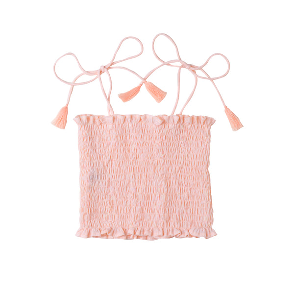 Shirred Tassel Top