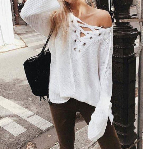 Brooke Lace Up Sweater