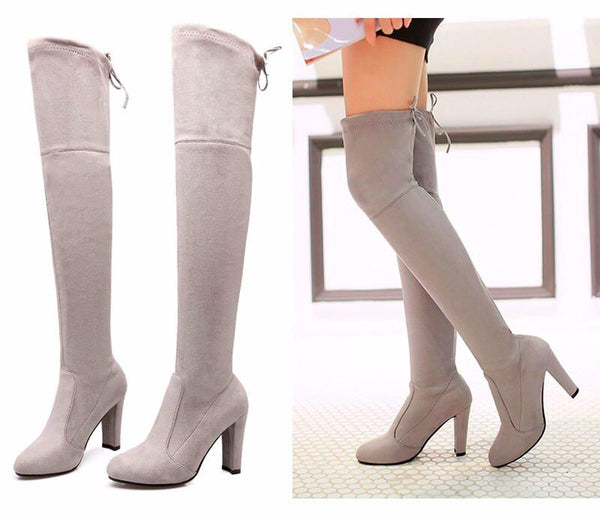 Gray Thigh Suede Boots