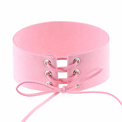 Baby Pink Lace Up Choker