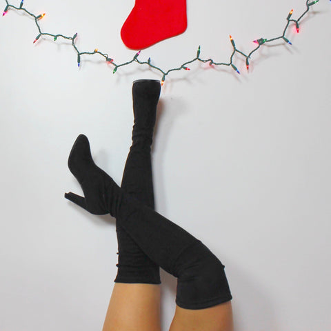 Black Thigh Suede Boots