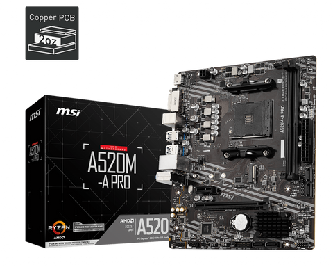 MSI A520M-A Pro AM4/DDR4/HDMI/DVI Motherboard