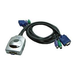 AirLink101 2-Port Super Mini Desktop KVM Switch W/2x built-in cables