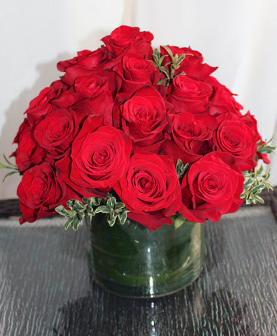 Lush and Low Two Dozen Red Roses - Lia's Floral Designs