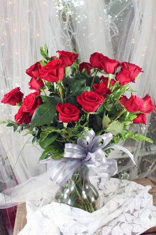 Two Dozen Red Roses in Vase - Lia's Floral Designs