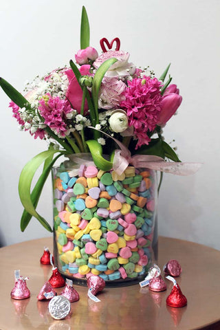 Valentine Flowers in Candy Heart Vase