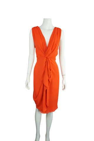 Carla Zampatti Orange chiffon twist dress
