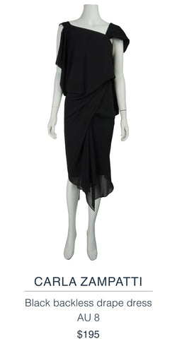 CARLA ZAMPATTI  Black backless drape dress