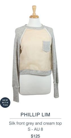 PHILLIP LIM  Silk front grey and cream top