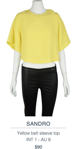SANDRO  Yellow bell sleeve top