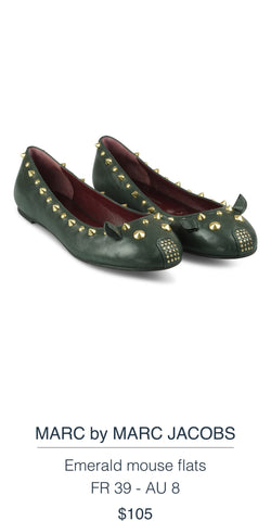 MARC BY MARC JACOBS  Emerald mouse flats
