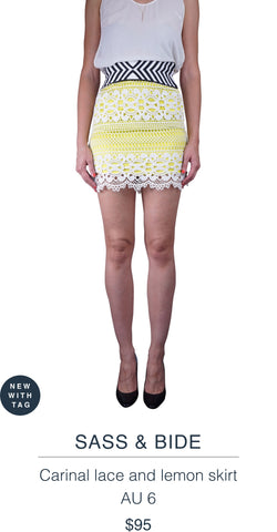 SASS & BIDE  Carinal lace and lemon skirt