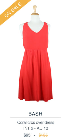 Bash coral cross over dress