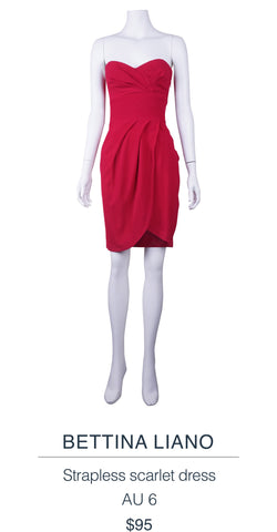 Bettina Liano Strapless scarlet dress