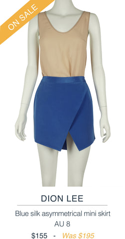 DION LEE  Blue silk asymmetrical mini skirt