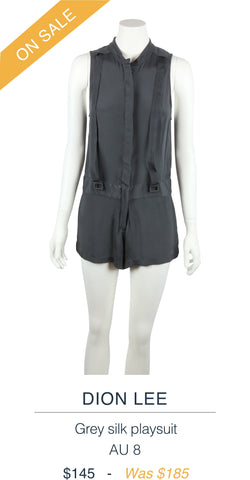 DION LEE  Grey silk playsuit