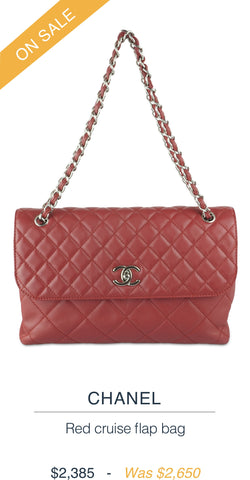 CHANEL  Red cruise flap bag