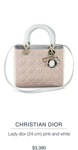 CHRISTIAN DIOR  Lady dior (24cm) pink and white handbag
