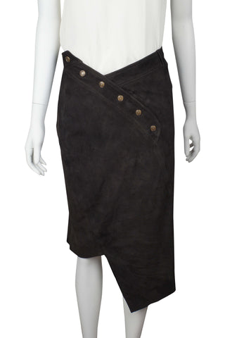 Chocolate suede skirt