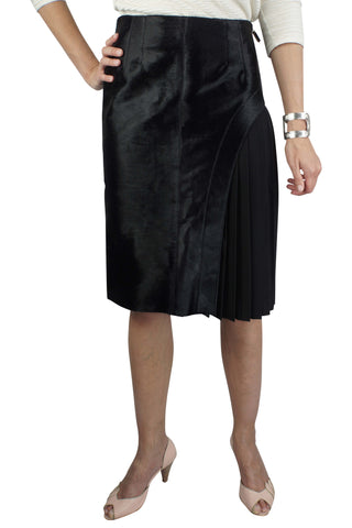 Ponyhair pleat black skirt