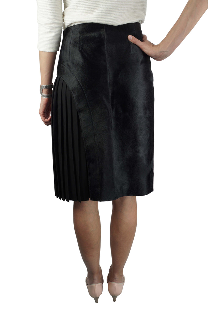 Fendi Ponyhair pleat black skirt