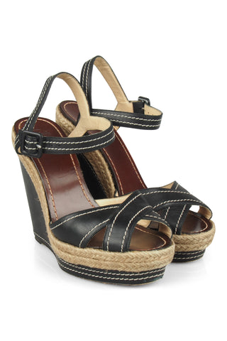 Almeria black wedge sandals
