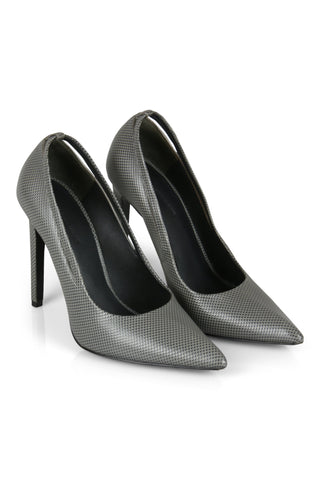 grey snake leather heels