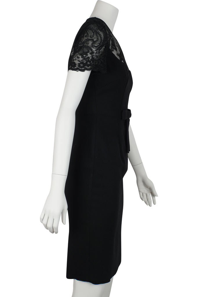 Alex Perry Black woollen bow dress
