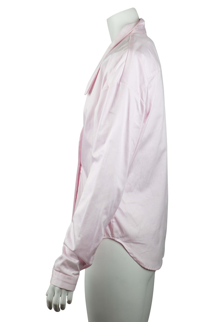 Michael Lo Sordo Overlap cocoon shirt in pink | Revoir - 4