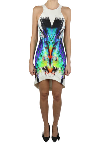 Digital print silk asymmetrical cocktail dress