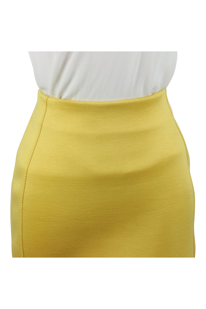 Josh Goot Cut away yellow scuba skirt