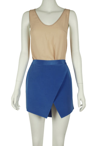 Blue silk asymmetrical mini skirt