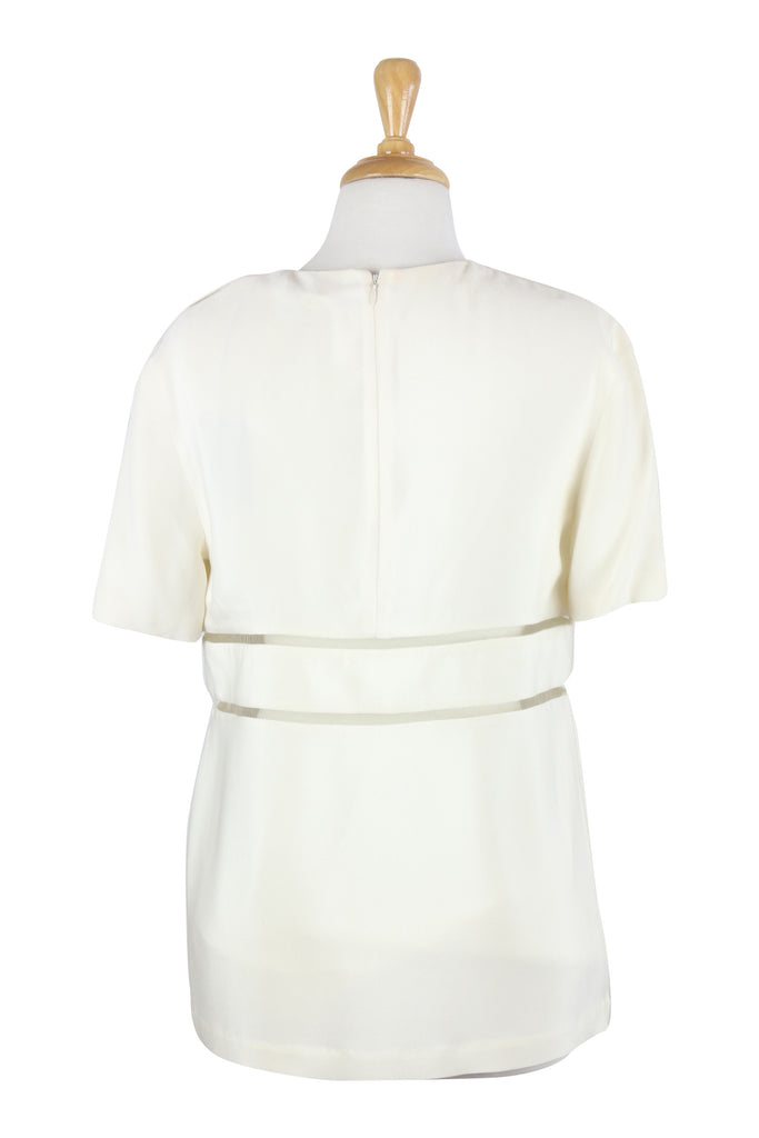 Alexander Wang Cream silk top with mesh inserts