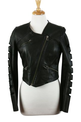 Nyc black leather biker jacket