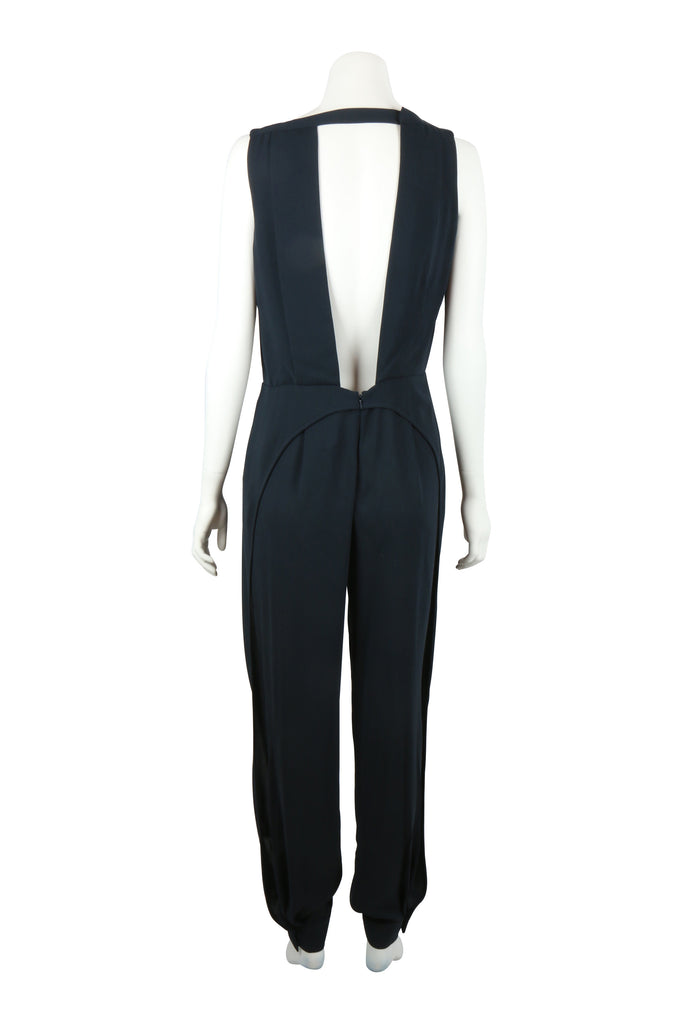 Max Azria Silk crepe jumpsuit in navy