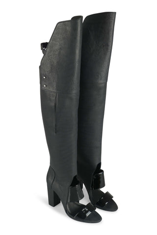 Runway black over the knee boots