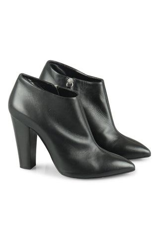 Black leather shoe-boots