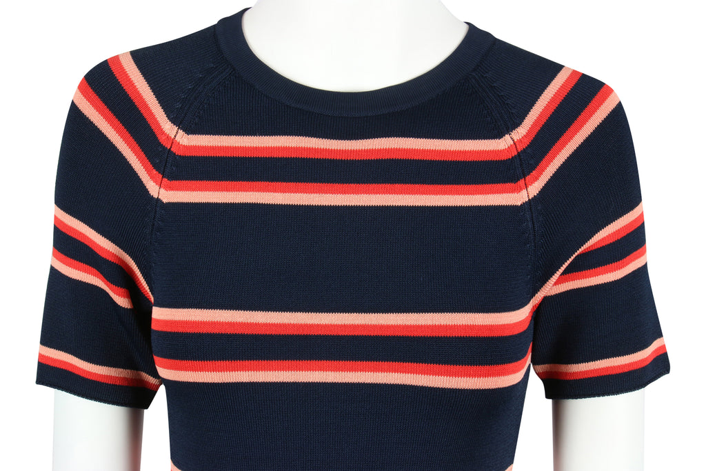 ALC Navy striped knit bodycon dress