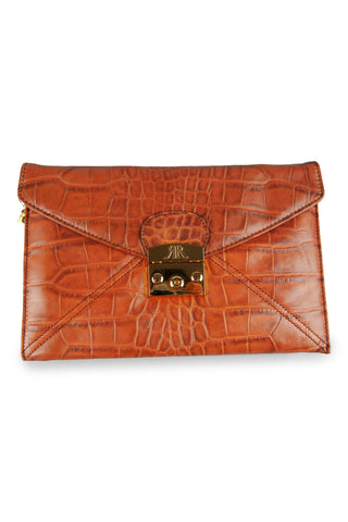Tan leather envelope clutch