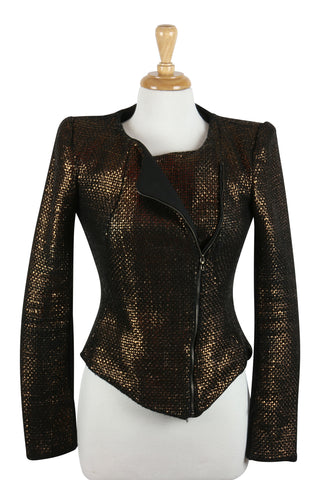 Burnished gold zip jacket